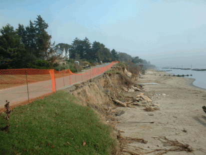 Severe erosion threatens road. Bay Ridge, Chesapeake Bay, Anne Arundel Co.